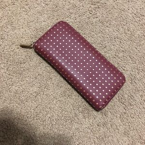 Burgundy and gold wallet